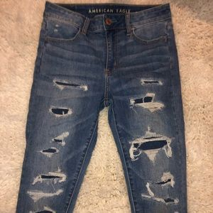 Americaneagle highrise patched ripped skinny jeans